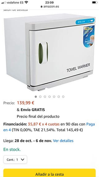 Esterilizador toallas Towel Warmer más afeitadora