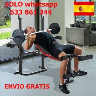 Banco de Musculación con Respaldo Ajustable Pesas