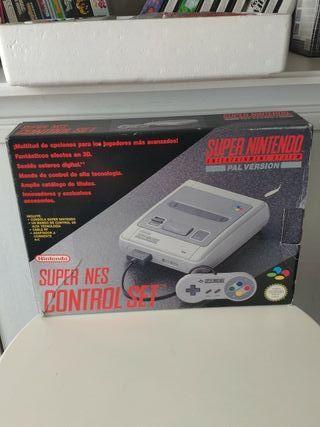 consola super Nintendo con caja