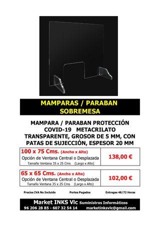 MAMPARAS DE PROTECCIÓN COVID 19 METACRILATO