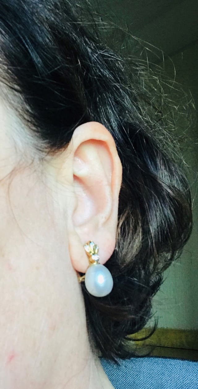 Pendientes oro 18, brillantes, perlas australianas