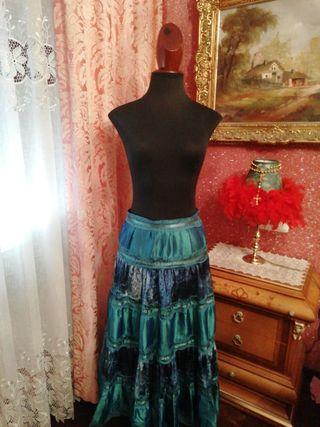 Falda NUEVA larga talla M azul turquesa
