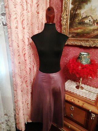 Falda NUEVA Mango talla 36 rosa raso metalizada