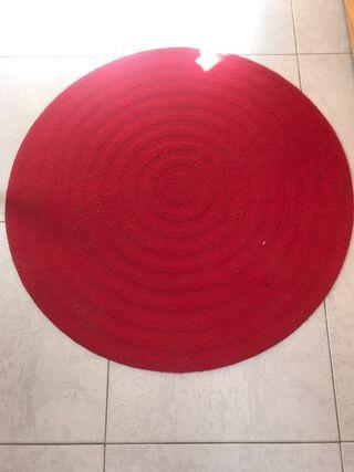 Alfombra redonda roja ikea