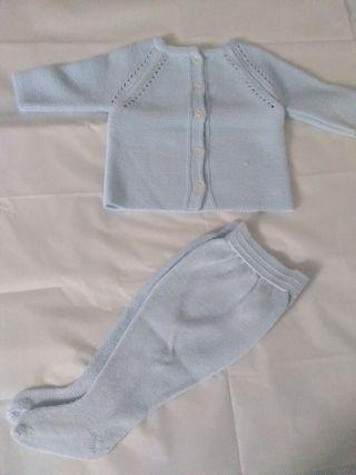 Conjunto tricot celeste bebé de 1-3 meses