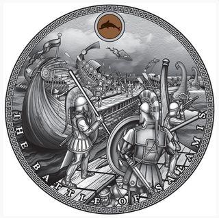 Moneda 2 Oz plata pura batalla salamina griegos