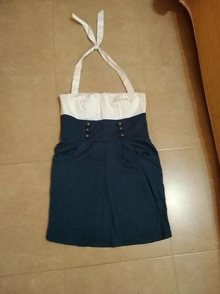 precioso vestido navy Blanco M/ L dos bolsillos