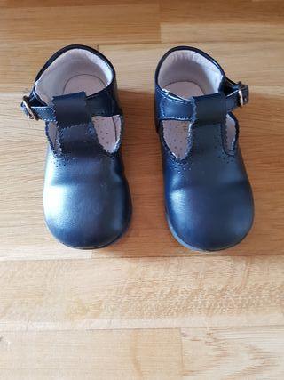 Zapato piel niño pepito azul marino
