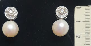 Pendientes oro, perlas australianas y diamantes