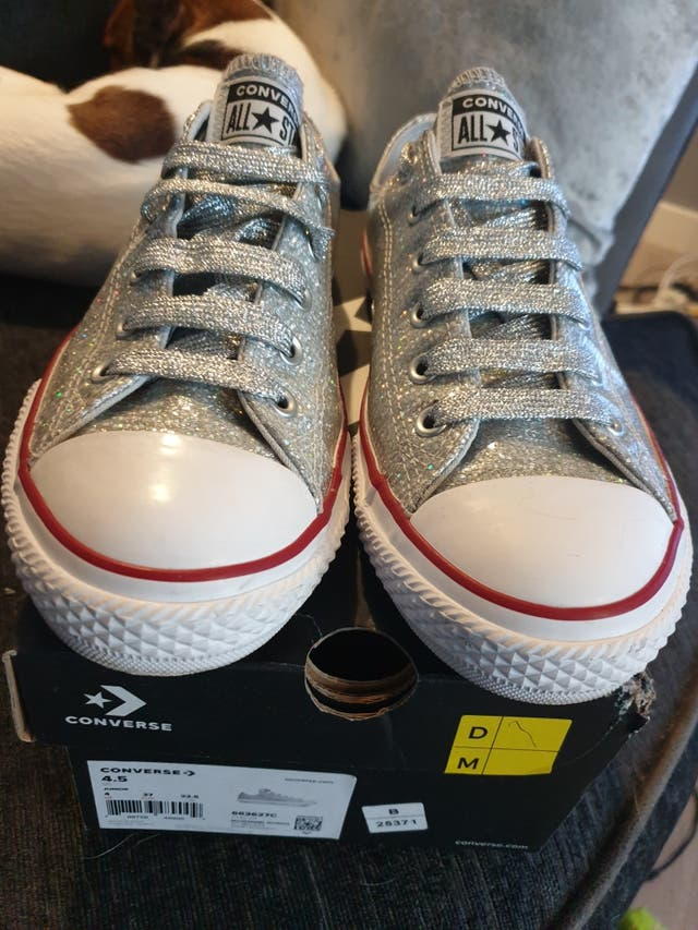silver glitter converse shoes. size 5. New