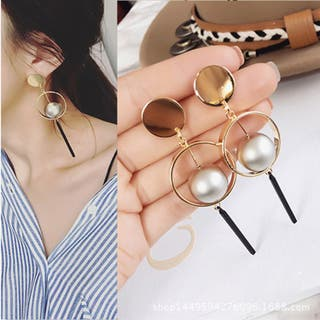 Grey color faux pearl with gold tone drop earring