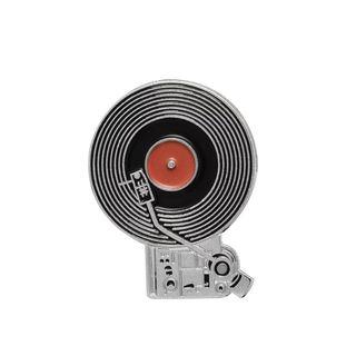 Original pin con disco de vinilo metal.