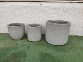 Macetas sueltas o en precio set de 3 gris claro