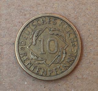 Moneda Alemana 10 rentenpfennig 1924 A