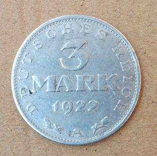 Moneda alemana 3 marcos 1922