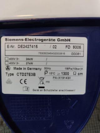 Calentador Eléctrico Siemens 24/27kW DE2427415