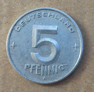 Moneda Alemana 5 pfennig DDR 1949A
