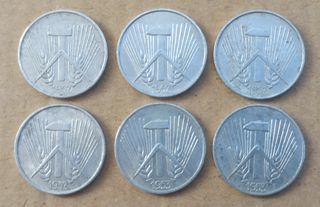 6 Monedas de 1 pfennig 1952 1953
