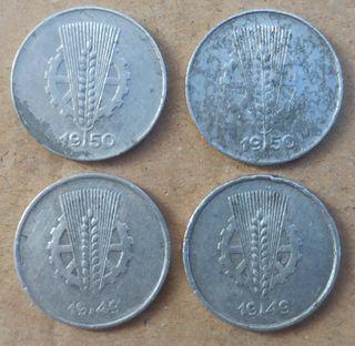 4 Monedas de 1 pfennig 1949 1950