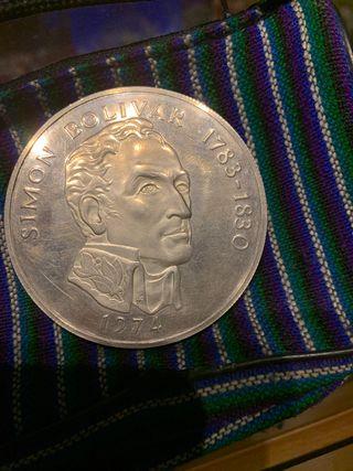Moneda Panamá. Plata 20 Balboas año 1974