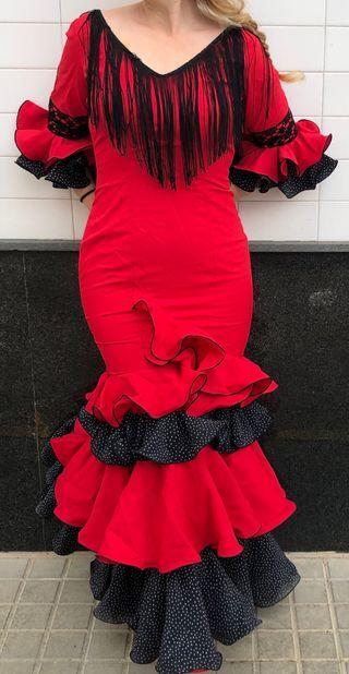 Traje de Flamenca rojo elástico T 36-38