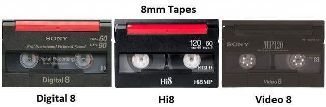 Cheap 8mm Hi8 Digital8 video tape transfer in UK