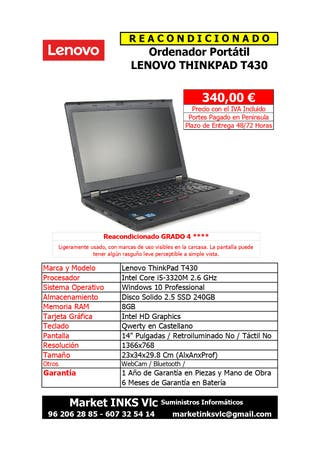Portatil Reacondicionado LENOVO ThinkPad T430