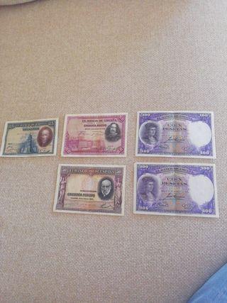 billetes de pesetas antiguos
