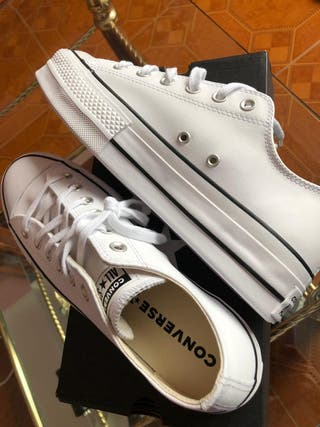 CONVERSE LOW PLATF LEATHER WHITE