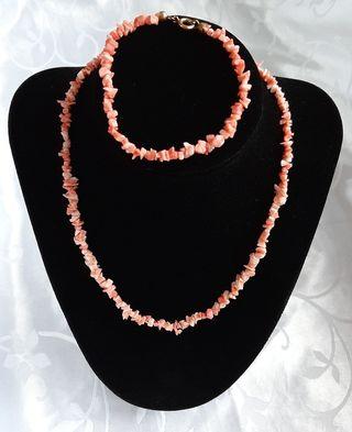 Collar + pulsera set vintage de coral natural.