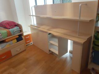 Estanteria y escritorio dormitorio infantil