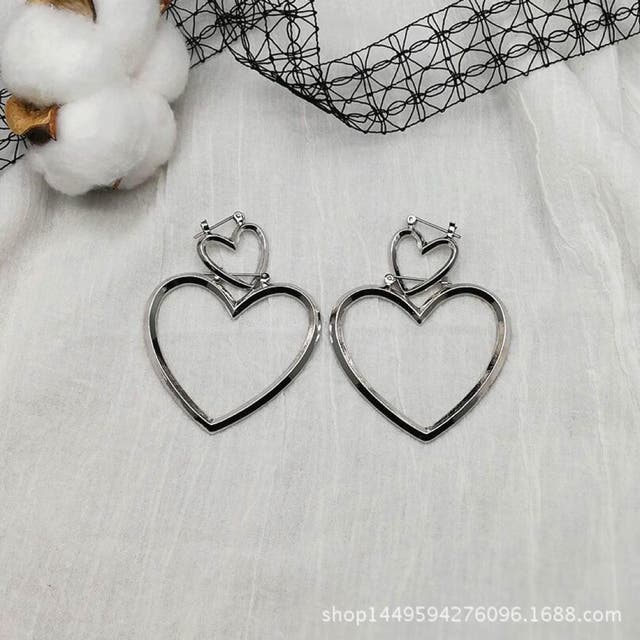 Heart shape silver tone drop earring