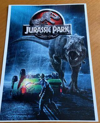 Sam Neill autógrafo Jurassic Park película Din4