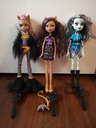 Monster High 3 muñecas