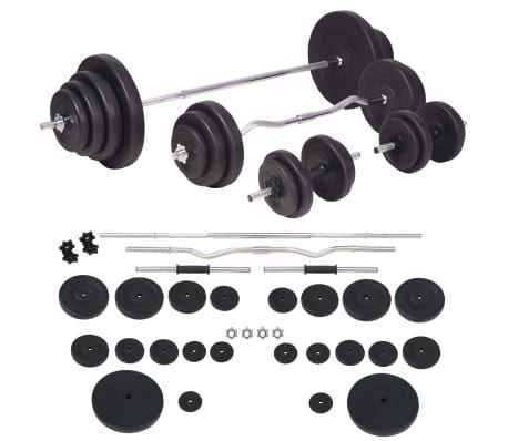 Banco musculación con soporte pesas, pesas