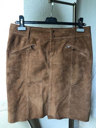 Falda piel marrón Massimo Dutti