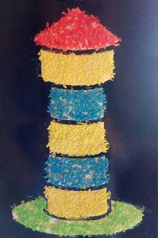 cuadro de torre colorida de arroz