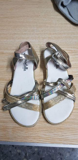 sandalias de verano color oro 34 diamantella
