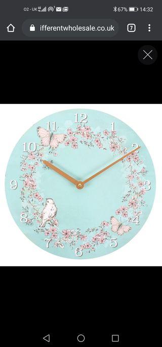Rustic Romance Bird and Butterflies Wall Clock