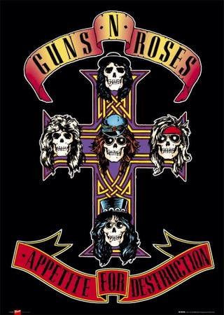Póster Guns and Roses y Pink Floyd sin abrir