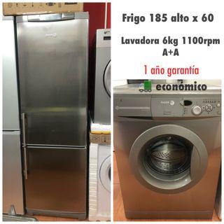 Frigorífico +lavadora gris con Garantía