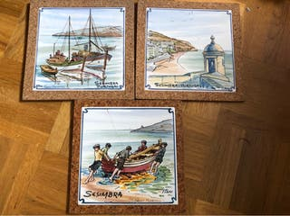Azulejos pintados a mano decorativos. Portugal