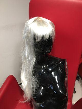 Lote de ocho pelucas de pelo blanco largo