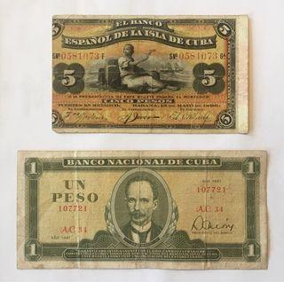 Billetes Pesos Cubanos 1896 1981