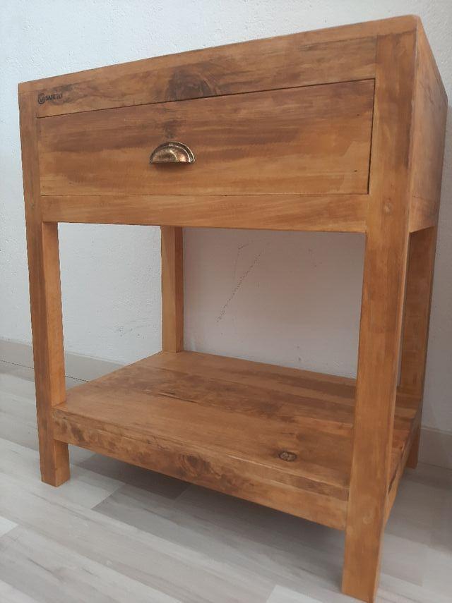 Mueble lavabo columna almacenaje baño madera de segunda ...