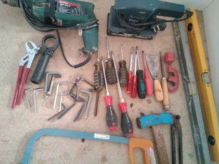 lote herramientas, taladro,lijadora, destornillado