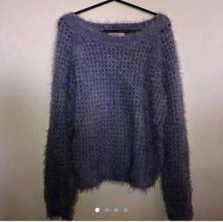 Fluffy Knitted Blue Sweatshirt