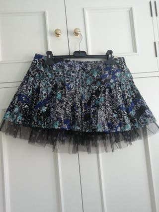Minifalda falda talla 38 estampado negra azul tul