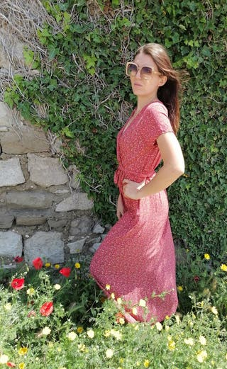 Robe fleurie liberty coton vintage made in Italie