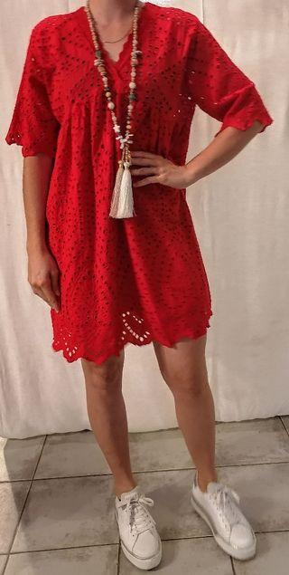 Robe dress tunique broderie anglaise bohème chic d